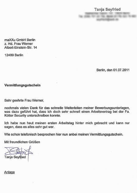 Bewerberin Frau Tanja Seyfried Maxxu Gmbh Co Kg Berlin